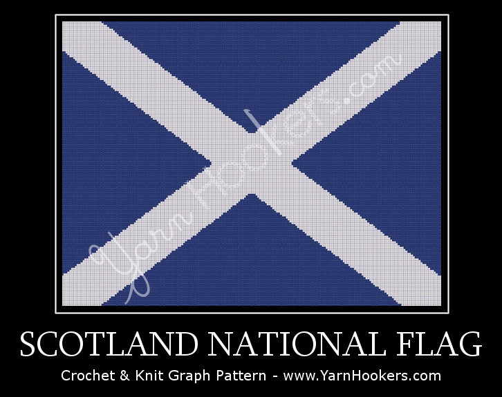 Scotland National Flag - Afghan Crochet Graph Pattern Chart by Yarn Hookers.com