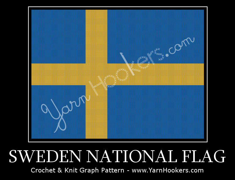 Sweden National Flag - Afghan Crochet Graph Pattern Chart by Yarn Hookers.com