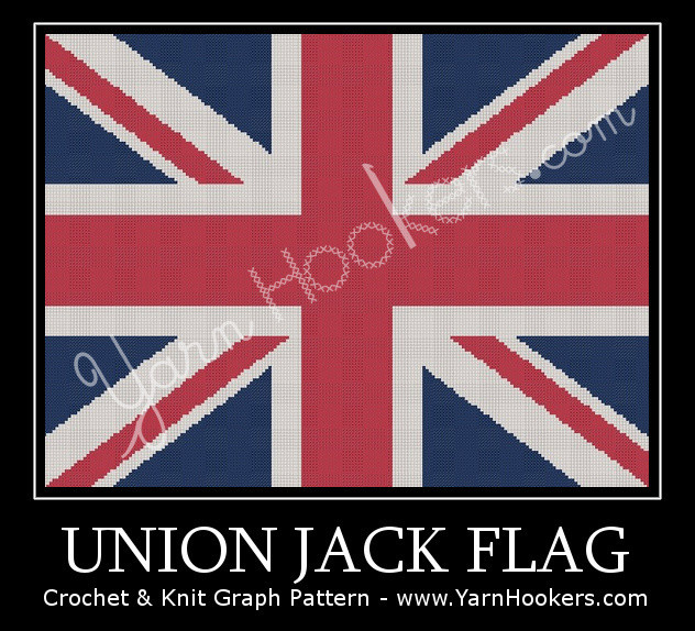 Union Jack - British Flag - UK National Flag - Afghan Crochet Graph Pattern Chart by Yarn Hookers.com