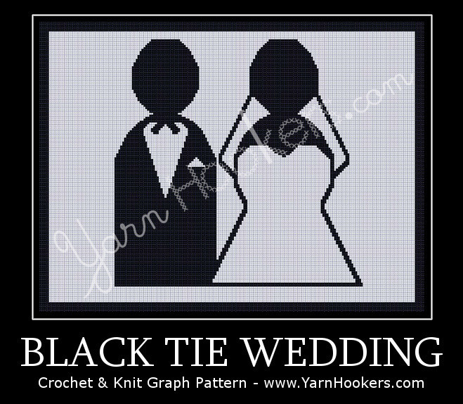 Black Tie Wedding - Afghan Crochet Graph Pattern Chart by Yarn Hookers.com