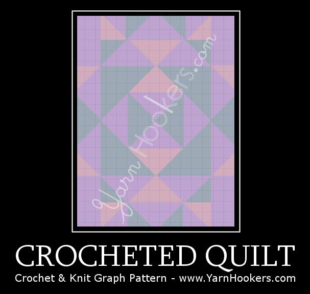 Crocheted Quilt - Afghan Crochet Graph Pattern Chart by Yarn Hookers.com