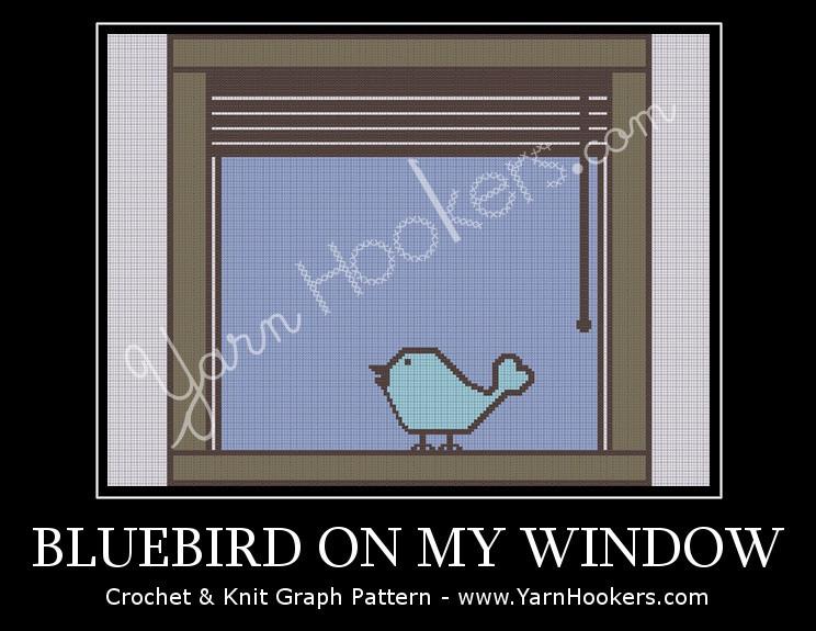 Bluebird on My Window - Afghan Crochet Graph Pattern Chart by Yarn Hookers.com