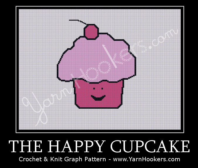The Happy Cupcake - Afghan Crochet Graph Pattern Chart by Yarn Hookers.com