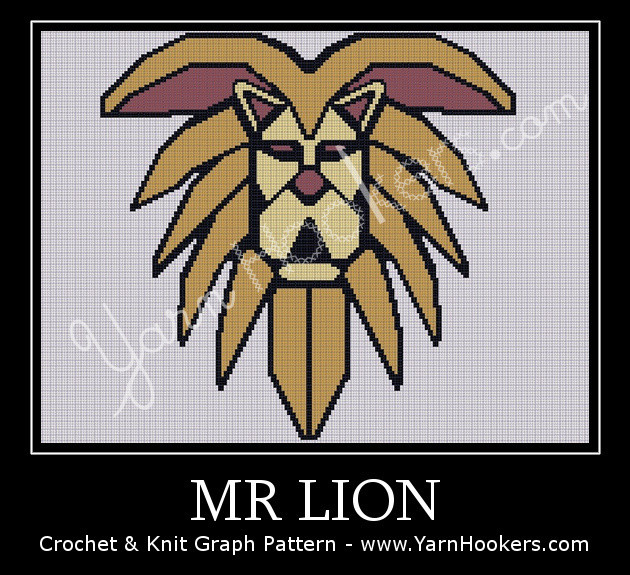 Mr. LION - Afghan Crochet Graph Pattern Chart by Yarn Hookers.com