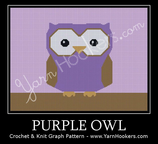 Purple Owl - Afghan Crochet Graph Pattern Chart by Yarn Hookers.com