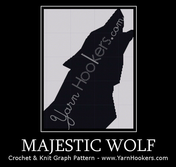 Majestic Wolf - Afghan Crochet Graph Pattern Chart by Yarn Hookers.com