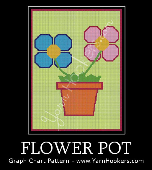 Flower Pot - Afghan Crochet Graph Pattern Chart by Yarn Hookers.com