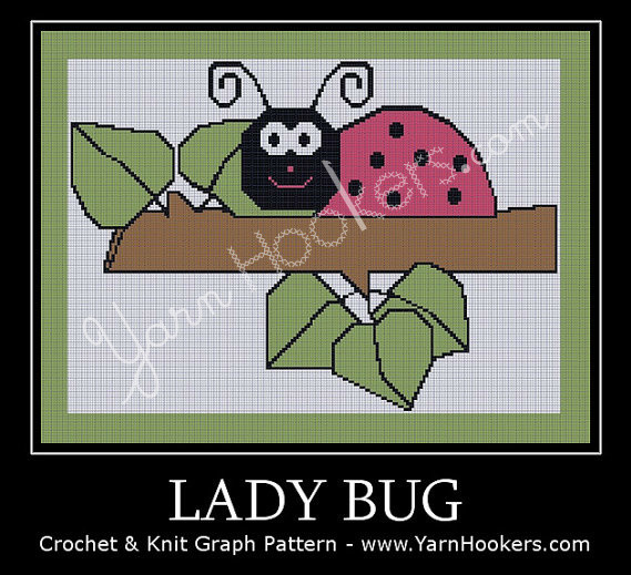 Lady Bug - Afghan Crochet Graph Pattern Chart by Yarn Hookers.com