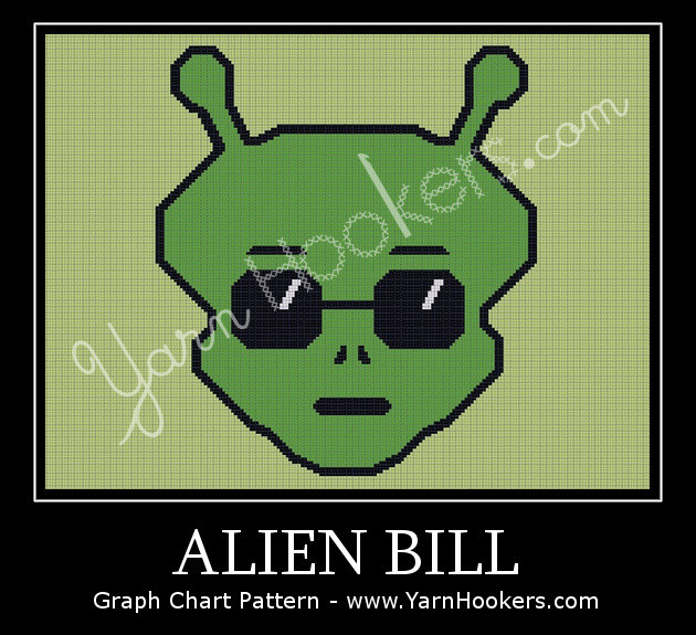 Alien Bill - Afghan Crochet Graph Pattern Chart by Yarn Hookers.com