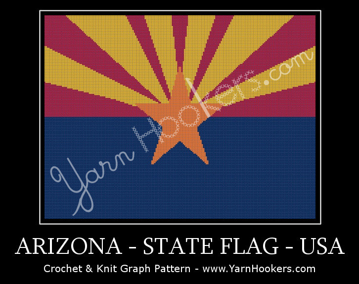 Arizona - State Flag - USA - Afghan Crochet Graph Pattern Chart by Yarn Hookers.com