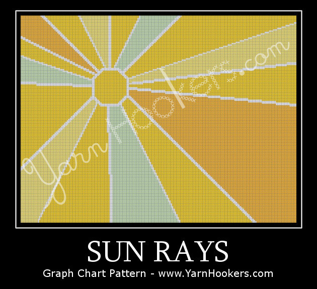 Sun Rays - Afghan Crochet Graph Pattern Chart by Yarn Hookers.com