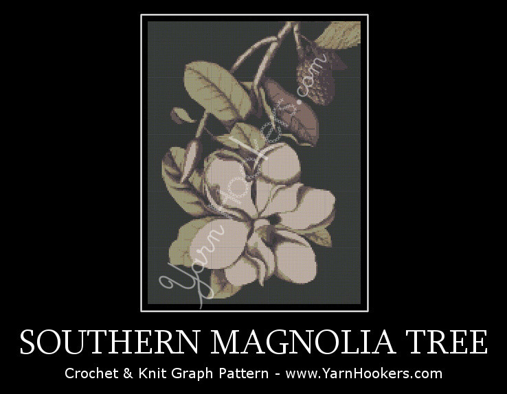 Southern Magnolia Tree - Afghan Crochet Graph Pattern Chart by Yarn Hookers.com
