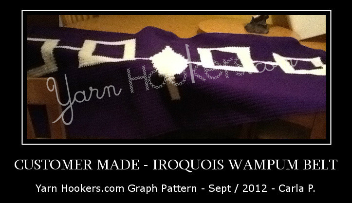 Iroquois Wampum Belt - Indian - Mohawk - Afghan Crochet Graph Pattern Chart by Yarn Hookers.com