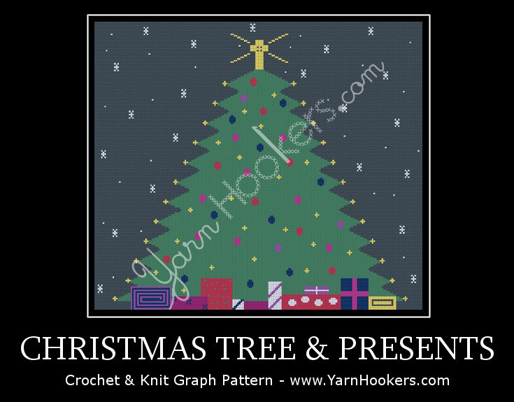 Christmas Tree with Presents-  Afghan Crochet Graph Pattern Chart by Yarn Hookers.com