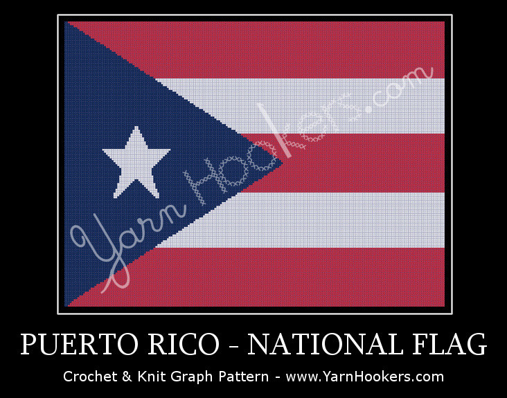 Puerto Rico - National Flag -  Afghan Crochet Graph Pattern Chart by Yarn Hookers.com