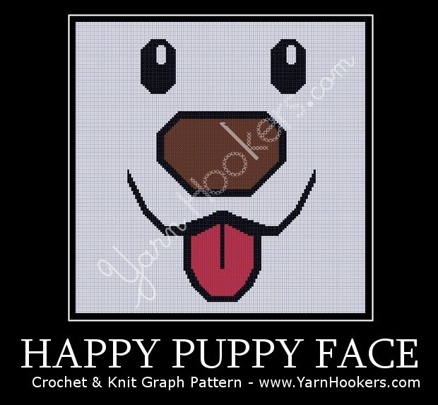 Happy Puppy Face - Afghan Crochet Graph Pattern Chart by Yarn Hookers.com