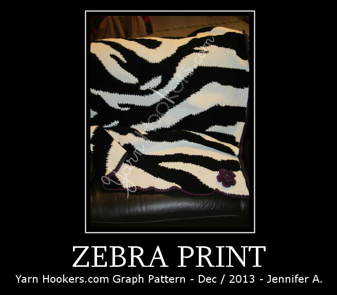 Zebra Animal Print - Afghan Crochet Graph Pattern Chart by Yarn Hookers.com