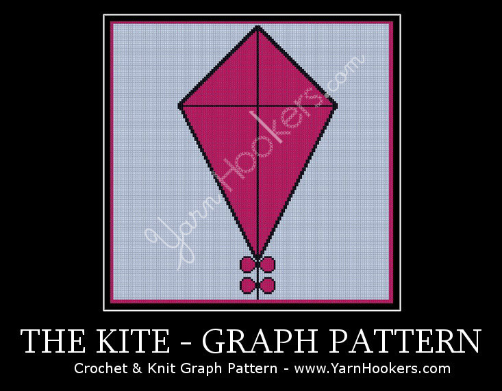 Pink Kite with Bows - Afghan Crochet Graph Pattern Chart by Yarn Hookers.com