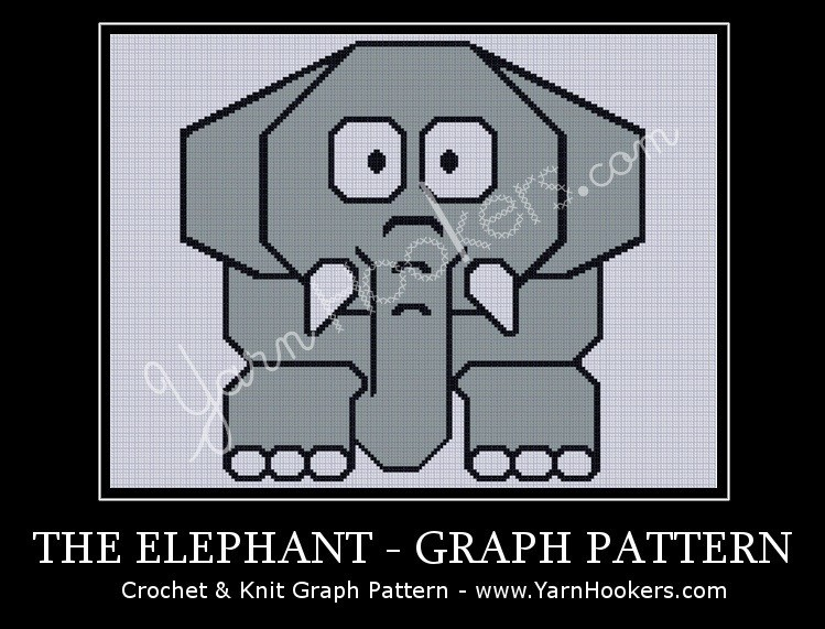 Grey Elephant - Afghan Crochet Graph Pattern Chart by Yarn Hookers.com