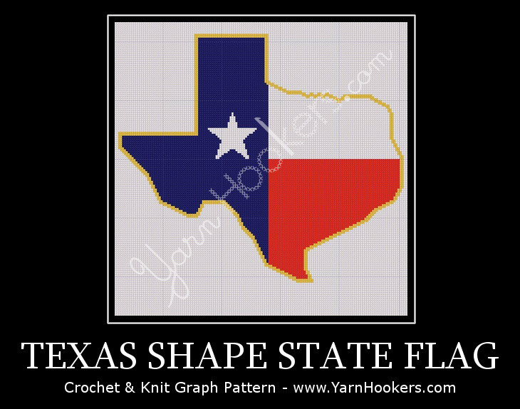Texas State Shape Flag - Afghan Crochet Graph Pattern Chart by Yarn Hookers.com