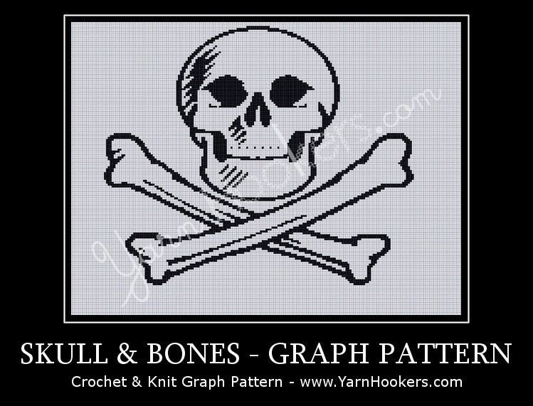 Skull & Bones - Afghan Crochet Graph Pattern Chart by Yarn Hookers.com