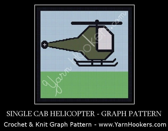 Single Cab Helicopter - Afghan Crochet Graph Pattern Chart by Yarn Hookers.com