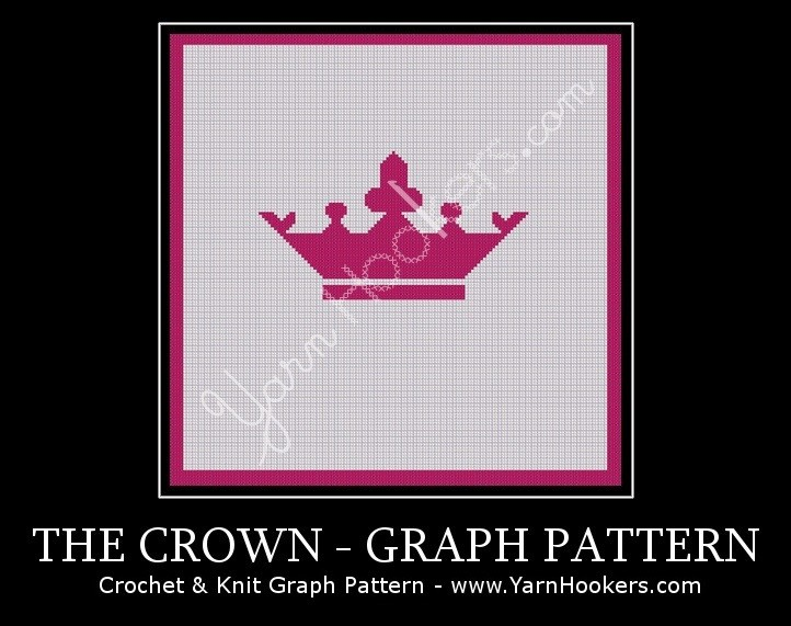 Pink Majestic Crown - Afghan Crochet Graph Pattern Chart by Yarn Hookers.com