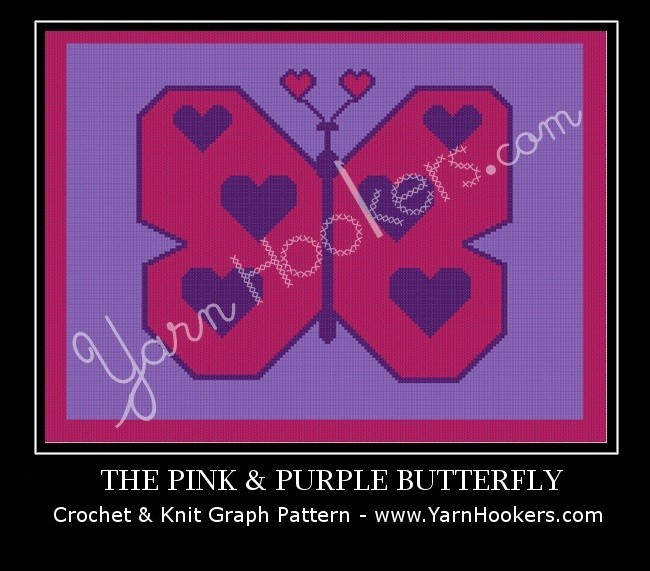 Pink & Purple Heart Butterfly - Afghan Crochet Graph Pattern Chart by Yarn Hookers.com