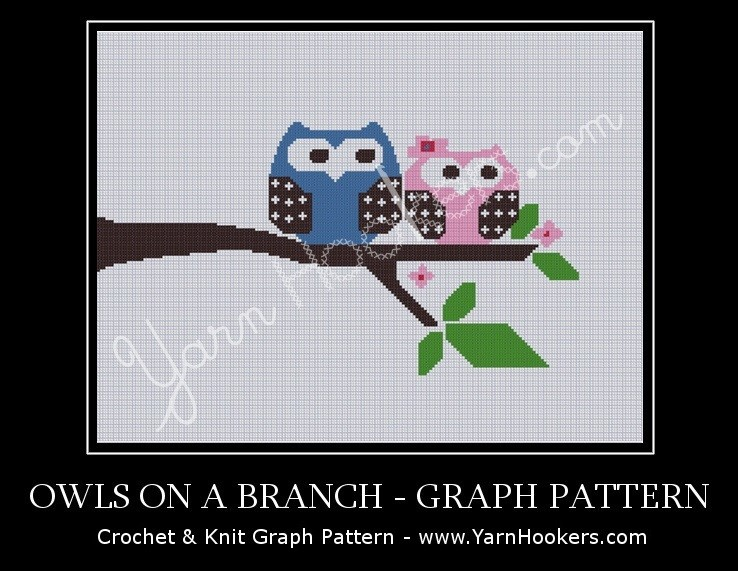 Owls On A Branch - Afghan Crochet Graph Pattern Chart by Yarn Hookers.com