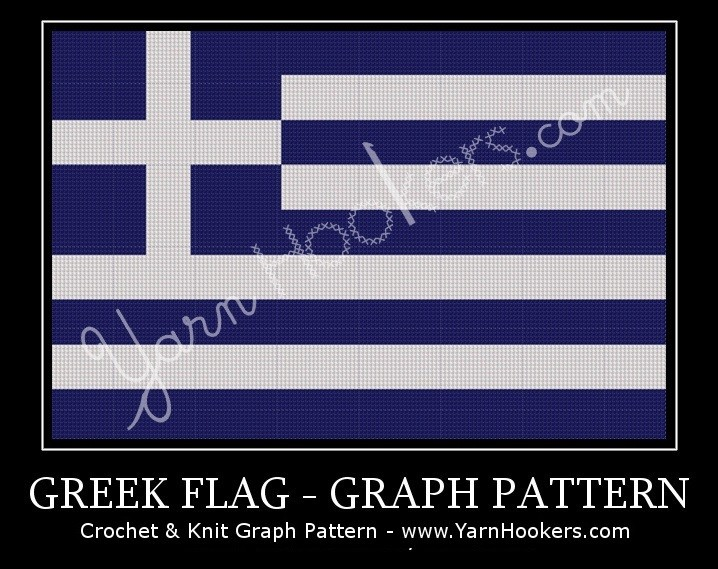 Greek National Flag - Afghan Crochet Graph Pattern Chart by Yarn Hookers.com
