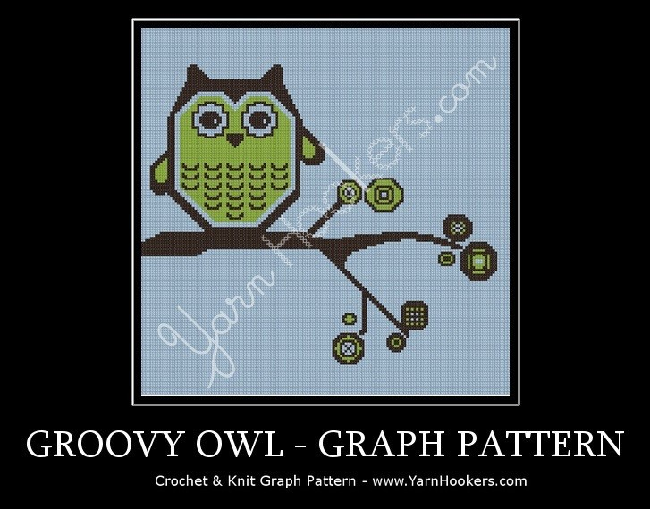 Groovy Owl - Afghan Crochet Graph Pattern Chart by Yarn Hookers.com