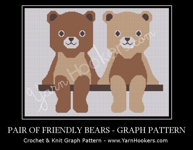 Pair of Friendly Teddy Bears - Afghan Crochet Graph Pattern Chart by Yarn Hookers.com