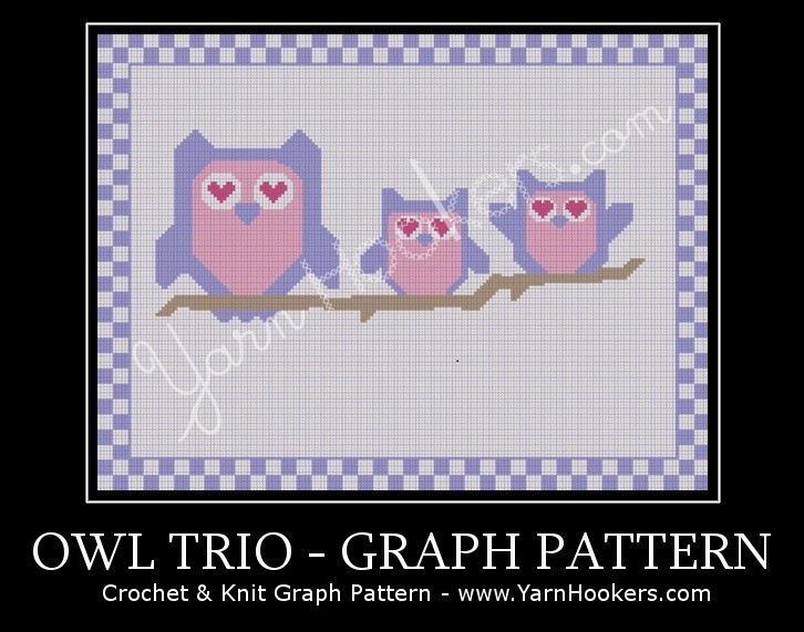Owl Trio - Afghan Crochet Graph Pattern Chart by Yarn Hookers.com