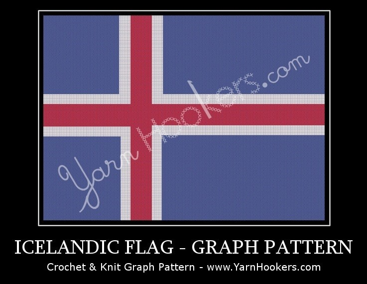 Iceland National Flag - Afghan Crochet Graph Pattern Chart by Yarn Hookers.com