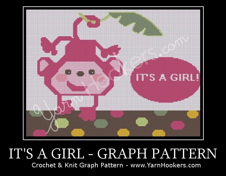 It's a Girl - Afghan Crochet Graph Pattern Chart by Yarn Hookers.com
