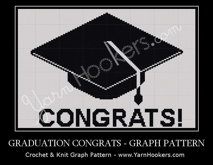 Graduation Congrats - Afghan Crochet Graph Pattern Chart by Yarn Hookers.com