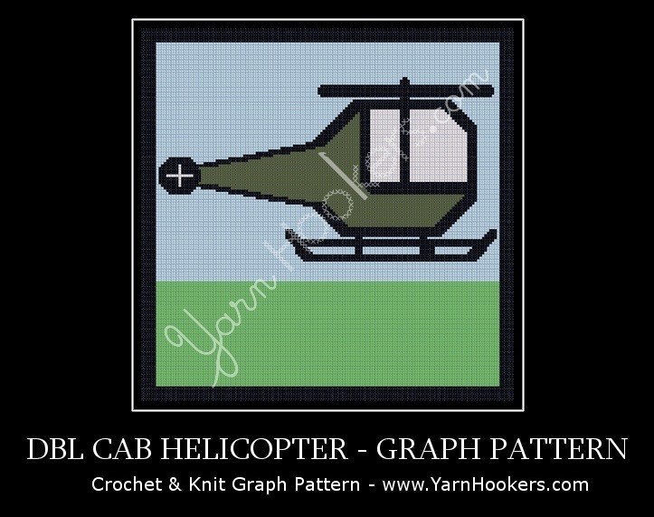 Double Cab Helicopter - Afghan Crochet Graph Pattern Chart by Yarn Hookers.com