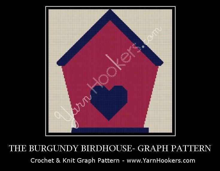 Burgundy Birdhouse - Afghan Crochet Graph Pattern Chart by Yarn Hookers.com
