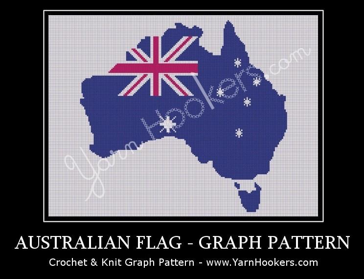 Australian Shape National Flag - Afghan Crochet Graph Pattern Chart by Yarn Hookers.com