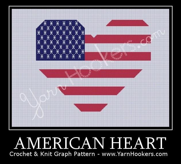 American Heart National Flag - Afghan Crochet Graph Pattern Chart by Yarn Hookers.com