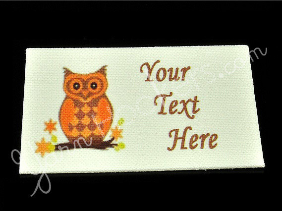 "Blue Owl - ""Iron on"" or ""Sew In"" - 100% Cotton Fabric Labels (White)"