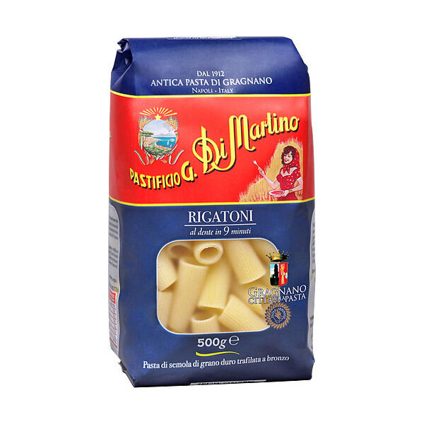 Lyhyt Pasta Rigatoni   Short Shapes Pasta   DI MARTINO   500 G