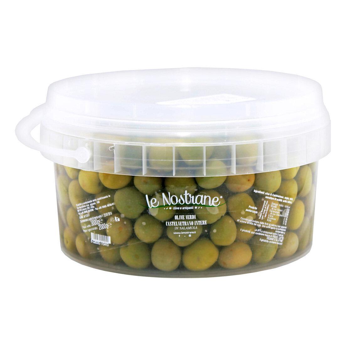 Castelvetrano Kivelliset Oliivit | Castelvetrano Whole Olives | LE NOSTRANEN | 3kg (kuivapaino 2kg)