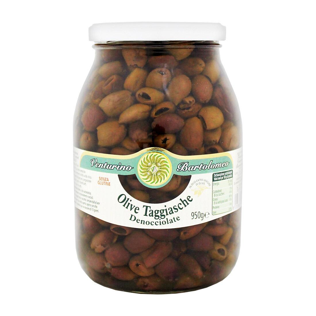Kivettömät Oliivit Taggiasca Ekstra- Neitsytoliiviöljyssä | Taggiasca Pitted Olives In Evoo | VENTURINO | 950 G