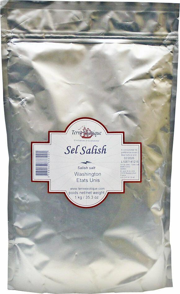 Salish-Intiaanien Savustettu Suola (Washington) | Salish Smoked Salt | TERRE EXOTIQUE | 1 KG