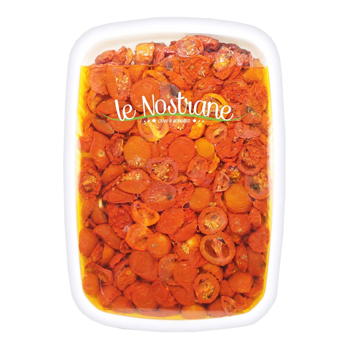 Puolikuivatut Kirsikkatomaatit Öljyssä | Semi-Dry Cherry Tomatoes In Oil | LE NOSTRANEN | 1 KG
