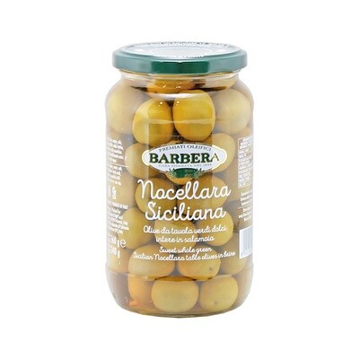 Kivelliset Vihreät Oliivit Nocellara   Nocellara Whole Green Olives   BARBERA   560 G