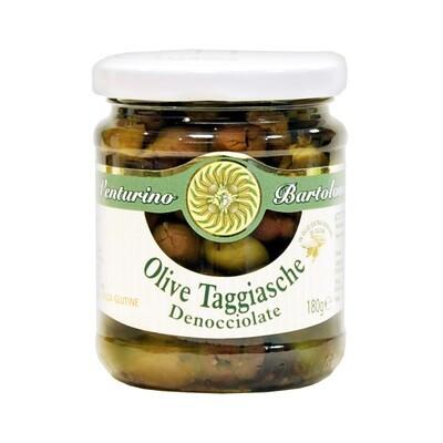 Kivettömät Oliivit Taggiasca Ekstra- Neitsytoliiviöljyssä   Taggiasca Pitted Olives In Evoo   VENTURINO   180 G