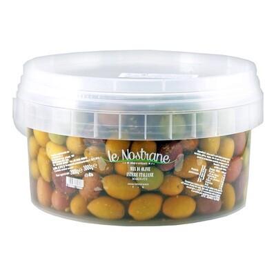 Italialaiset Kivelliset Oliivit Italian Mix -sekoitus   Italian Mix Whole Olives   LE NOSTRANEN   3kg (kuivapaino 2kg)