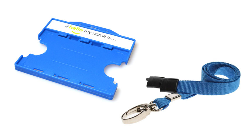 #hellomynameis Dual Sided Card Holder with Plain Blue Lanyard